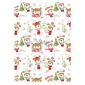 Ditipo Christmas wrapping paper for children white tree and dog in cap 100 x 70 cm 2 pieces