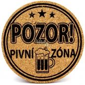 Nekupto Cork Coaster Caution! Beer zone 10 cm