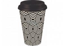 Albi Bamboo travel mug Criss Cross black and white 340 ml