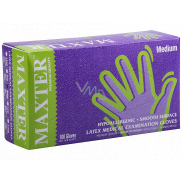Maxter Hygienic disposable latex hypoallergenic powdered gloves, size M, box 100 pieces
