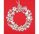 Wreath wooden white glitter 23 cm