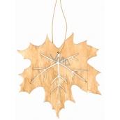 Dřevěný list na zavěšení světle hnědý 10 cm