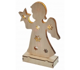Emos Lighting wooden angel 23 cm, 6 LEDs, warm white