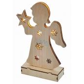 Emos Lighting wooden angel 23 cm, 6 LEDs, warm white