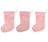 Plush stocking Santa Claus pink 40 cm 1 piece