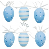 Plastic eggs for hanging white-blue 6 cm 6 pieces in a bag