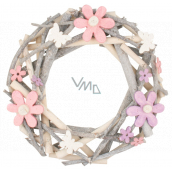 Wreath of twigs with colorful flowers and bow ties 30 cm