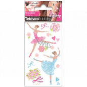 Tattoo decals colored children's with glitter Ballerinas 10.5 x 6 cm