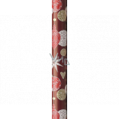 Präsenta Gift wrapping paper 70 cm x 5 m Christmas burgundy with hanging flasks, hearts and stars