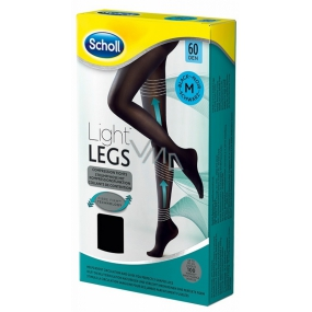 Scholl Light Legs Kompresní punčochové kalhoty M černé 60 den pomáhají zabraňovat pocitu únavy nohou a snižují pocit těžkých nohou