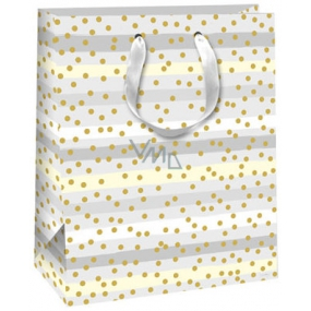 Gift Bag QAB Glitter Gray-White-Striped Striped + Gold Wheels
