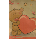Nekupto Gift paper bag large kraft 37 x 28 x 10 cm Teddy bear with heart 574 KHL