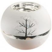 Candlestick glass white silver 8 cm