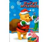 Ditipo Disney Dárková papírová taška pro děti L Medvídek Pú Happy Holidays 26,4 x 12 x 32,4 cm