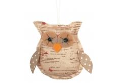 Owl for hanging beige 8 cm