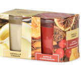 Emocio Vanilla Cream & Apple Cinnamon - Vanilla cream and apple cinnamon scented candle glass 52 x 65 mm 2 pieces in a box