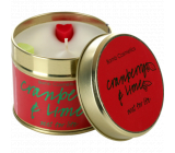 Bomb Cosmetics Cranberry and Lime Scented natural, handmade candle in a tin can burns for up to 35 hours