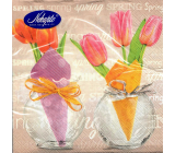 Nekupto Paper napkins 3 ply 33 x 33 cm 20 pieces Easter Tulips in a vase, inscription Spring