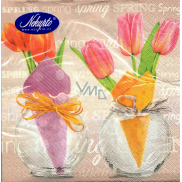 Nekupto Easter paper napkins Tulips in a vase, Spring lettering 3 layers 33 x 33 cm 20 pieces