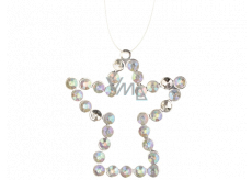 Metal hanging angel with stones 9 cm