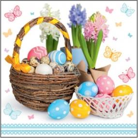 Velikonoční papírové ubrousky košík s vajíčky, hyacinty 33 x 33 cm 3 vrstvé 20 kusů