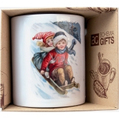 Bohemia Gifts Ceramic mug with a picture of children on a sleigh 350 ml