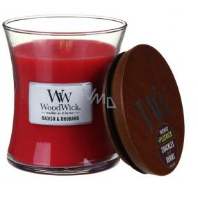 WoodWick Radish and Rhubarb - Ředkev a Rebarbora vonná svíčka s dřevěným knotem a víčkem sklo střední 275 g