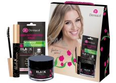 Dermacol Black Magic Mattifying Face Moisturizer Moisturizing Face Gel for Women 50 ml + 3D textile face mask 15 ml + Black Swan mascara black 10 ml, cosmetic set