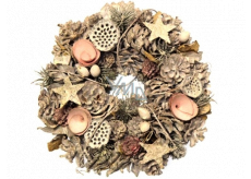 Advent wreath natural white - pink 26 cm