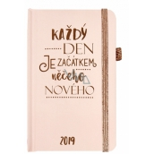 Albi Diář 2019 pocket with rubber pads Every day Pink 9,5 x 15 x 1,3 cm