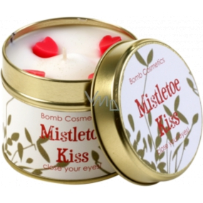 Bomb Cosmetics Kiss under the Mistletoe Scented natural, handmade candle in a tin jar burns up to 35 hours
