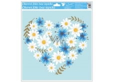 Glue-free window foil with glitter flowers heart 33 x 30 cm
