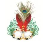 Plesová škraboška zlatá s červeným peřím 30 cm