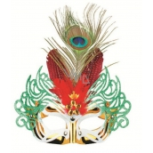 Golden ball mask with red feathers 30 cm
