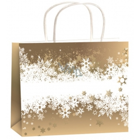 Angel Bag Christmas gift gold-white ribbon flakes M horizon 23 x 18 x 10 cm
