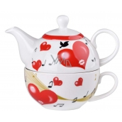 Emocio Pottery pot with teapot and cup of heart, set