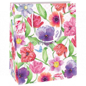 Ditipo Gift paper bag small various flowers, poppies, pansies 11.4 x 6.4 x 14.6 cm E