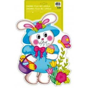 Room Decor Window foil without glue Easter hologram shaped, bunny with hat 40 x 27 cm