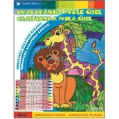 Coloring book by numbers with 10 giraffe 29 x 24 cm