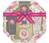 Baylis & Harding Pink magnolia and pear blossom liquid body soap 130 ml + shower cream 130 ml + soap 150 g + bath crystals 100 g + body butter 100 ml + massage sponge, octagonal cosmetic set