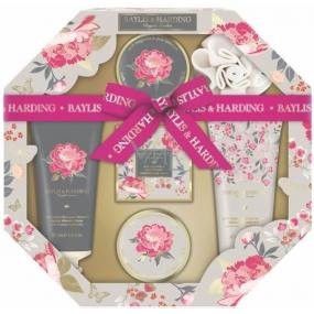 Baylis & Harding Pink magnolia and pear blossom liquid body soap 130 ml + shower cream 130 ml + soap 150 g + bath crystals 100 g + body butter 100 ml + massage sponge, octagonal cosmetic set