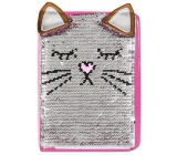 Extra block with sequins - brown cat