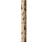 Zöwie Gift wrapping paper 70 x 150 cm Christmas Scandi Style natural black trees, mountains, deers