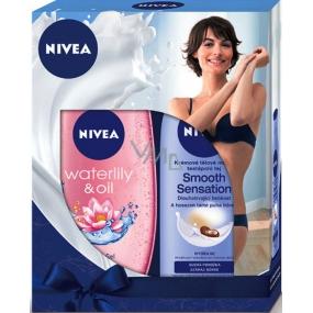 Nivea Smooth Sensation krémové tělové mléko pro suchou pokožku 250 ml + Waterlily & Oil sprchový gel 250 ml,pro ženy kosmetická sada