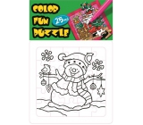 Collage coloring book Christmas theme Snowman and bird 25 pieces 18 x 12 cm