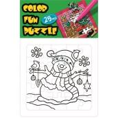 Skládací omalovánky vánoční motiv Sněhulák a ptáček 25 dílků 18 x 12 cm