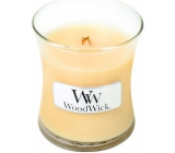WoodWick Lemongrass & Lily - Lemon grass and lily scented candle with wooden wick and glass lid small 85 g