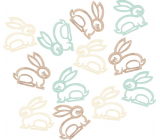 Wooden hare beige, turquoise, brown 4 cm, 12 pieces