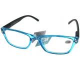 Berkeley Reading glasses +2.5 plastic transparent blue, black sides 1 piece MC2166