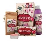 Bohemia Gifts Lovebook shower gel 200 ml + bath salt 150 g + condom 1 piece + candle 1 piece, cosmetic set